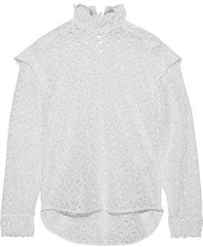 Sandro Coleta Ruffle-Trimmed Corded Lace Blouse