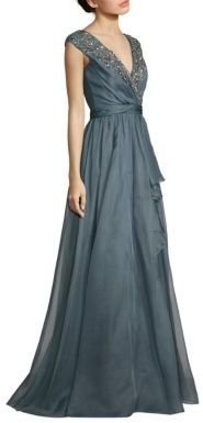 Badgley Mischka Beaded Silk Organza Gown $1,190 thestylecure.com