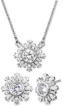 "Badgley Mischka Crystal Flower 16"" Pendant Necklace & Stud Earrings Set"