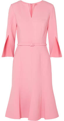 Oscar de la Renta Belted Wool-blend Dress - Baby pink