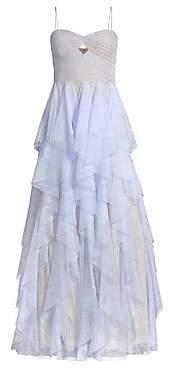 Aidan Mattox Women's Lace& Tulle Ruffle Gown