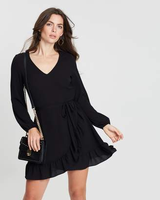 Dorothy Perkins Ruffle Wrap Fit-and-Flare Dress