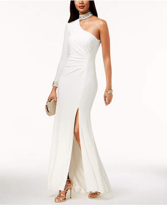 Xscape Evenings Embellished Choker One-Shoulder Gown