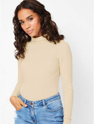 George Nude Ribbed Roll-Neck Top