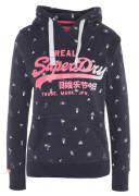 Sweatshirt, Allover-Print, Logo-Schriftzug, Kapuze