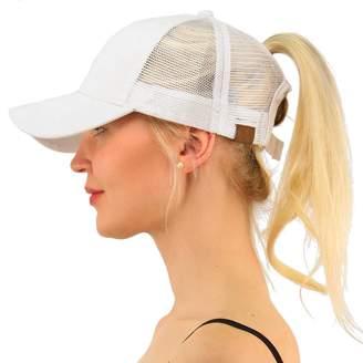 cfa081498d8 FCX-Fashion Ponycap Messy Ponytail Adjustable Mesh Hats for Women Baseball  Caps