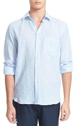 Men's Vilebrequin 'Carrix' Trim Fit Stripe Linen Shirt $240 thestylecure.com