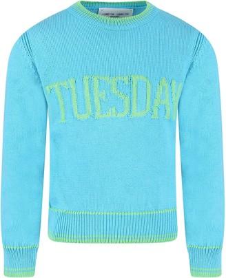 Alberta Ferretti Light Blue Girl Sweater With Green Writing