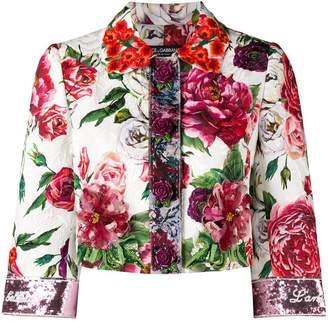 Dolce & Gabbana peony print cropped jacket