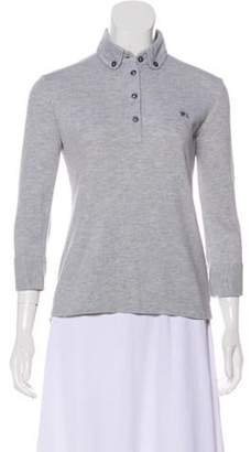 Burberry Long Sleeve Polo Top grey Long Sleeve Polo Top