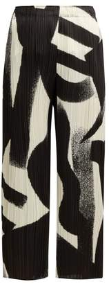 Pleats Please Issey Miyake Pleated Cropped Wide Leg Trousers - Womens - Black White
