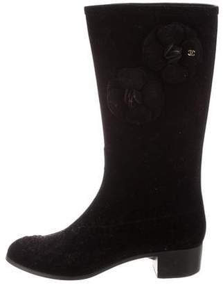 Chanel CC Velvet Camellia Boots