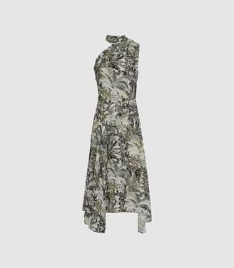 Reiss Adelia Print - Asymmetric Midi Dress in Multi