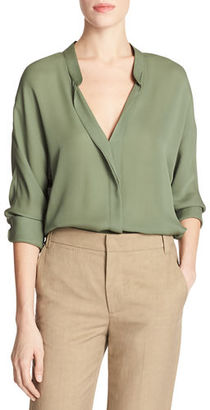Vince Banded-Collar Concealed-Placket Silk Blouse $295 thestylecure.com