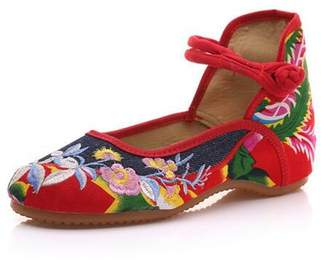 ZYZF Women Chinese Flower Embroidered Oxfords Rubber Sole Mary Jane Dance Flat Shoes