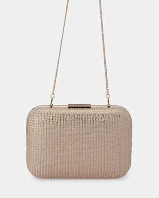 Olga Berg Lana Metallic Knit Clutch