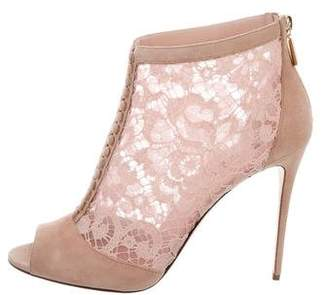 Dolce & Gabbana Peep-Toe Lace Booties w/ Tags