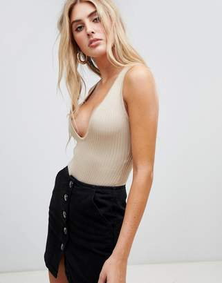 Missguided plunge neck knitted bodysuit