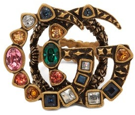 Gucci Gg Crystal Embellished Ring - Womens - Multi