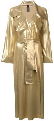 Norma Kamali metallic trench coat