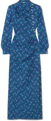 Miu Miu Embellished Silk-jacquard Maxi Dress - Blue