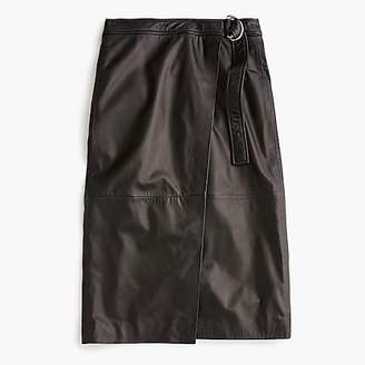 J.Crew Collection wrap pencil skirt in leather