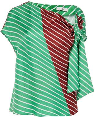 Tibi Delphina Stripe Asymmetrical Tie Top