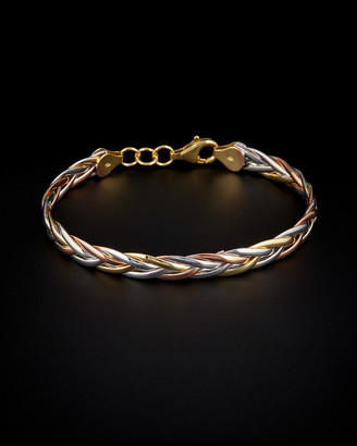 931a0a9ad6 Italian Gold Tri-Color Polished Braided Bangle