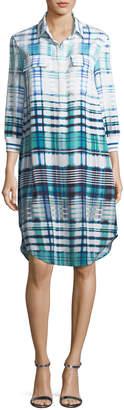 St. John Ombre Plaid Silk-Blend Shirt Dress