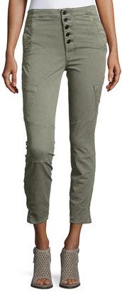 J Brand Brigitte Sky High Utility Cropped Cargo Pants, Gray $258 thestylecure.com