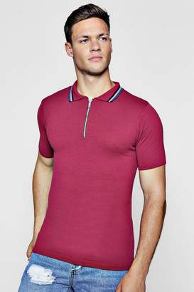 boohoo Zip Neck Muscle Fit Knitted Polo
