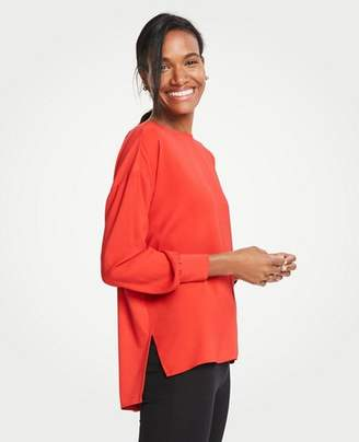 Ann Taylor Petite Mixed Media Boatneck Tunic
