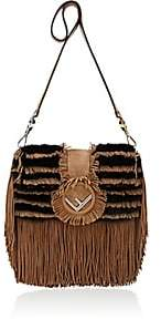 Fendi Women's Striped Fur Shoulder Bag-Camel, Blk