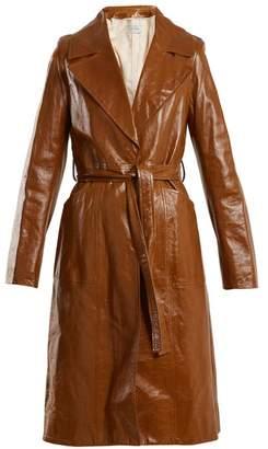 Yves Salomon Tie-waist patent-leather trench coat