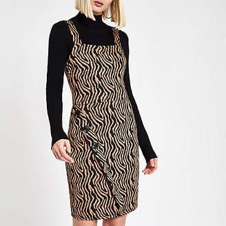 River Island Brown zebra print wrap pinafore mini dress