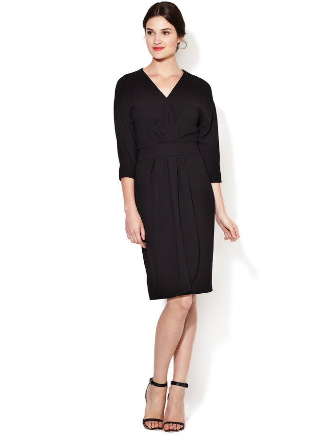 Carolina Herrera Wool Crepe Dolman Wrap Dress