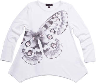 Imoga Jersey-Stretch Long-Sleeve Sequin Butterfly Tunic, Size 4-6