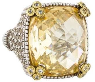Judith Ripka Sapphire & Canary Quartz Cocktail Ring