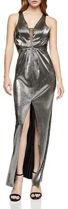 BCBGeneration Metallic Plissé Maxi Dress