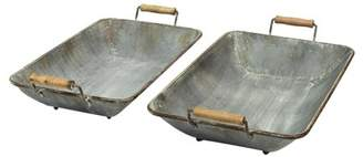 Stratton Home Décor Stratton Home Decor Set of 2 Distressed Metal Trays