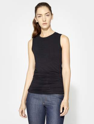 Halston SLEEVELESS ROUND NECK TOP WITH RUCHED SIDES