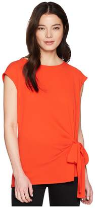 Vince Camuto Specialty Size Petite Sleeveless Mix Media Tie Front Blouse Women's Blouse