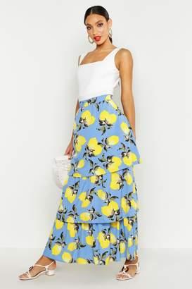 boohoo Lemon Print Ruffle Hem Maxi Skirt