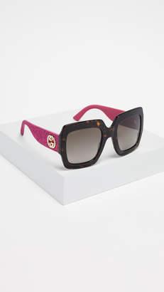 cbd1e08ac64 Gucci Pop Glitter Iconic Oversized Square Sunglasses