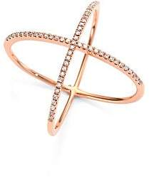 Ef Collection Women's Diamond & 14K Rose Gold X Ring