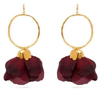 Elise Tsikis - Natura Silk Flower Gold Plated Brass Hoop Earrings - Womens - Red