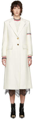 Thom Browne White Wide Lapel Overcoat