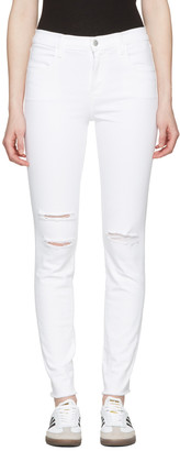 J Brand White Maria High-Rise Skinny Jeans $200 thestylecure.com
