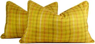 One Kings Lane Vintage Plaid Silk Kantha Pillows - Set of 2