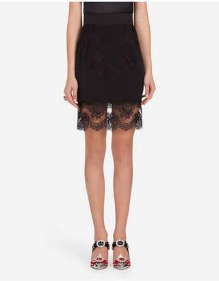 Dolce & Gabbana Lingerie Short Skirt In Crepe-De-Chine And Lace